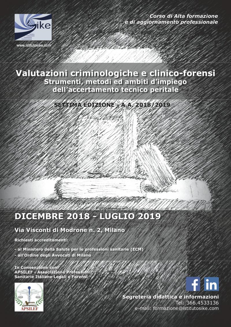 Valutazioni criminologiche<br>e clinico-forensi